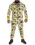 REDRUM Trainingsanzug Jogginganzug Set Jacke und Hose Herren Cortina Camouflage (XS, Camo Gelb)