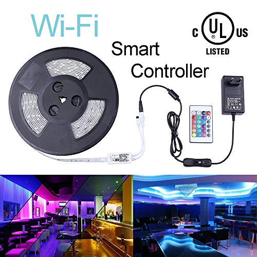 Onewatt LED WIfi Streifen Beleuchtung, Liplasting 10M 32.8ft RGB Lichtband 300LEDs 5050 SMD Wasserdichter 12V led Mit Wifi Fernbedienung für iOS und Android Smartphones Alexa(32.8f Weiß PCB Wifi)