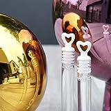 EinsSein 24x Seifenblasen Hochzeit Herzgläschen Box Weiss Wedding Bubbles gefüllt Vintage hochzeitsdeko Herz gastgeschenk tischdeko hochzeitsseifenblasen Candy bar luftblasen deko Flüssigkeit - 6