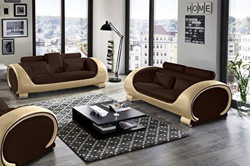 SAM Garnitur Vigo 2 teilig, braun/creme, Couch aus Kunstleder