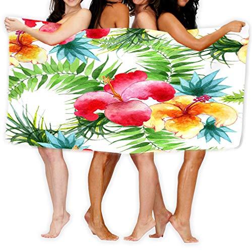 Xunulyn Bath Towel Beach Towel Tropical Hawaii Leaves Palm Tree Pattern Watercolor Style Aquarelle wild Flower Texture Wrapper Frame Fashion Bath Towels 31