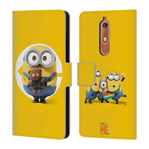Head Case Designs Offizielle Despicable Me Bob Minions Leder Brieftaschen Huelle kompatibel mit Nokia 5.1
