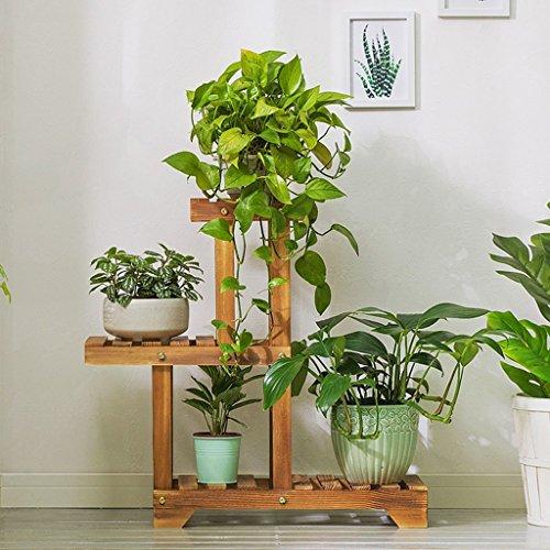 ZLL Indoor Flower Stand , Flower Rack Massivholz Kohlenstoff geröstete Farbe Balkon Wohnzimmer Pflanzenrahmen , Haushalt Flower Stand