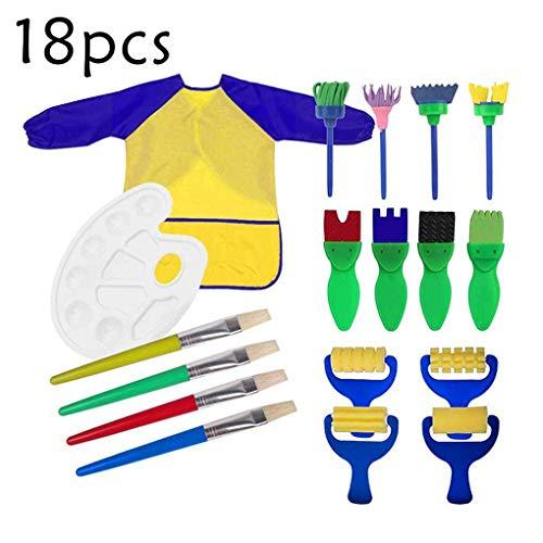 18 Stück Zeichenwerkzeuge, Kinder grundlegende DIY Pinsel Malerei Kunst Kittel Schürze Schwamm Pinsel Schwamm Roller Pinsel Blume Muster Pinsel Kunststoff-Palette für Kinder Doodle