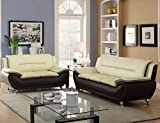 Platinum Modern Contemporary Luxury Faux Leather 3+2 Seater Full Sofa Set - 3 Colour Choices (Black & Cream)
