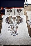 Samburu Elephant King Size Copripiumino Matrimoniale e 2federa, biancheria da letto, biancheria da letto, motivo colorato, Bold, Ethnnic, indiano, grigio