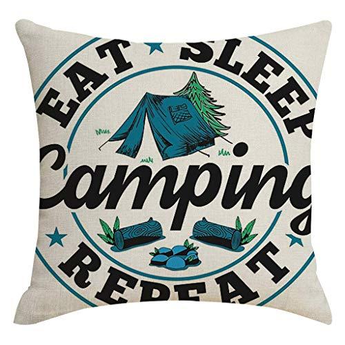 FeiliandaJJ Happy Camper Kissenbezug 45x45cm,Komfortable Schlaf Kopfkissenbezug,Weich Cotton Linen Kissenhülle, Deko Sofakissenbezüge Pillowcase für Couch Wohnzimmer Sofa Bed Auto (O-11)