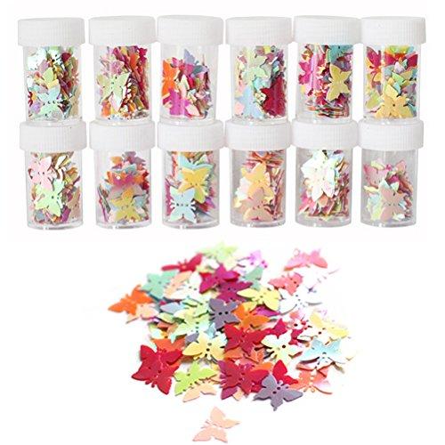 ROSENICE Schmetterling konfetti 12 Flaschen DIY Pailletten Glitzer konfetti Deko für Kinder Nagelkunst und Handwerk