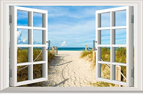 wall-sticker-beach-path-sea-sun-sand-fantasy-window-art-canvas-print-ak2700