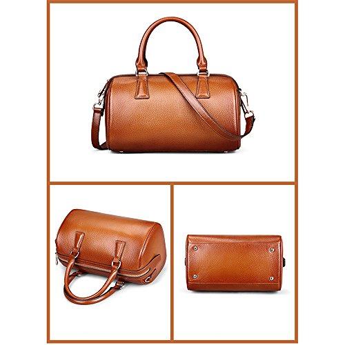 Myleas 2W-ST5646 Damen Retro Echtes Leder Henkeltasche Handtasche Schultertasche Shopper mit Schultergurt Rose