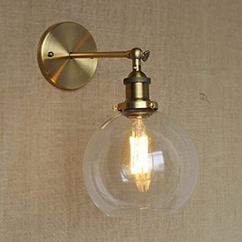 NIUYAO Wall Light Globe Shade Mini Wall Sconce Classic Vintage with Clear Glass-Gold