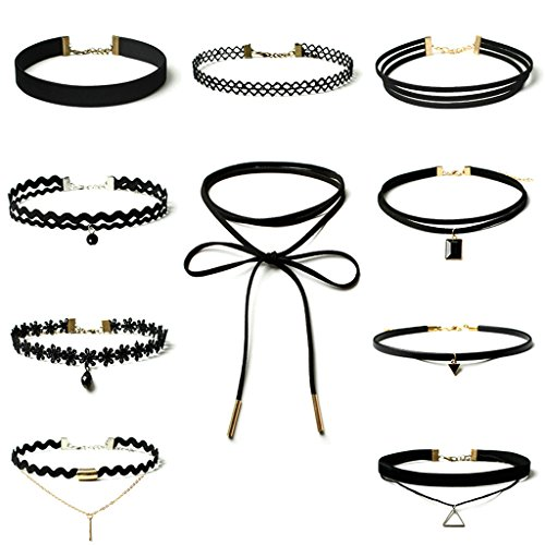 gnzoe-10pcs-womens-black-velvet-choker-necklace-for-girls-lace-choker-tattoo-necklace
