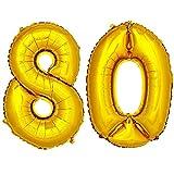 DekoRex® Folienballon Zahlenballon Luftballon Geburtstag Deko 80cm Zahl Gold 80