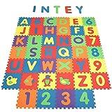 INTEY Tappeto Puzzle Bambini - 40 Pezzi Tappetini per Neonati, Lettere Numeri Animali Rimovibili -Tappeto Gioco Puzzle Come Regalo - 32*32 cm
