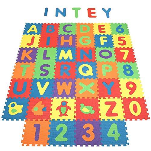 INTEY EVA Puzzlematte Wasserdicht & Umweltfreundlich Spielmatte - Puzzleteppich 101 Stück(40pcs) mit Buchstaben-Matten, Zahlen-Matten und Tier-Matten【32 cm x 32 cm】