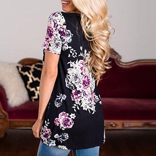 OverDose Damen Lässige Blumen Splice-Streifen Druck Rundhalsausschnitt Pullover Bluse Tops T-Shirt F-Schwarz