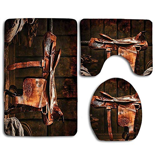 Rodeo Cowboy Leather Western Saddle on Wood Beam in Rustic Ranch Wood Barn Picture Soft Comfort mat Anti-Skid Absorbent Toilet Seat Cover Bath Mat Lid Cover 3pcs/Set Rugs -
