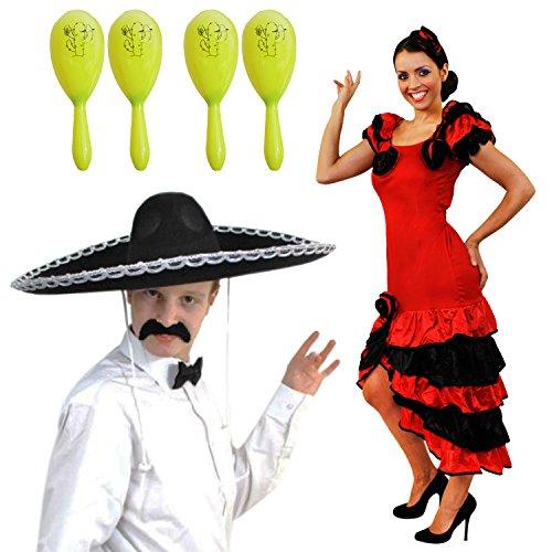 SPANISCHES MEXIKANISCH MARIACI RUMBA SALSA PAARE+4 GELBE MARACAS = KOSTÜM VERKLEIDUNG=KARNEVAL FASCHING THEMEN PARTY=KLEID+SOMBRERO SILBERNEM RAND+FLIEGE+SCHNÄUTZER+4 MARACAS = - Salsa Kostüm Für Paare