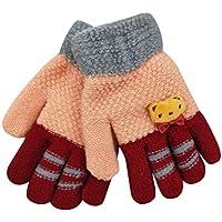 guantes niña invierno de esquí, guantes calientes tejido de punto con puños ajustables transpirable para snowboard, ciclismo al aire libre o para la pala de nieve