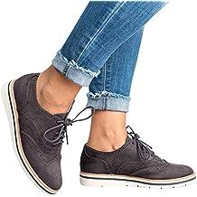 online zapaterias online outlet zapatillas zapatos Azul marino ... ❤ Zapatos con Cordones, Botas de Mujer, Punta Redonda de Color Sólido,