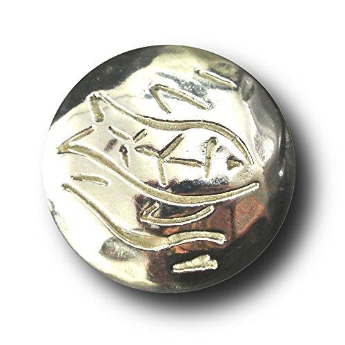 (Knopfparadies - 5er Set altertümlich wirkende Knöpfe mit naivem Fisch Motiv / Metall / glänzend silberfarben / Ø ca. 23mm)