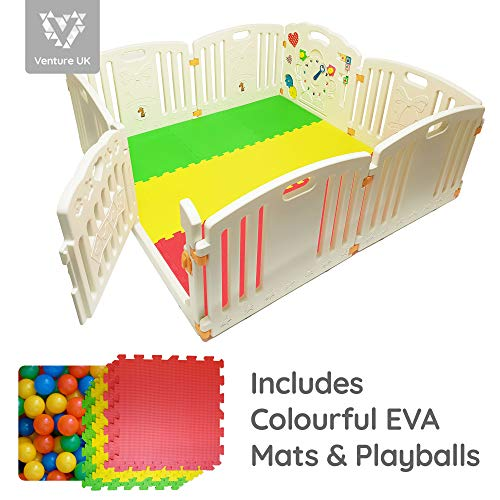 NEW Venture ALL STARS Baby Playpen | 8 Pcs Including Fun Activity Panel | Fitted Floor Mats And 200 Bright Coloured Play Balls | Strong And Duable   Made From High Quality Non Toxic Materials