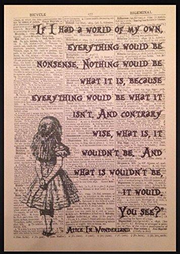 ild mit englischem Alice-im-Wunderland-Zitat, Vintage-Stil ()