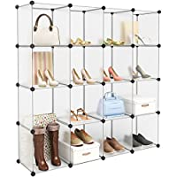 LANGRIA Interlocking Plastic Wardrobe Cabinet 16-Cube Open Storage and Organizer with Translucent Panel Design for Personal Items, Clothes, Shoes, Toys and Books, 147 x 37 x 147cm, White