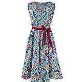 TWIFER Mode Frauen A-Linie Kleid Sommerkleid Strandkleid Blümchen V-Ausschnitt Sleeveless Gürtel Verband Tank Minikleid