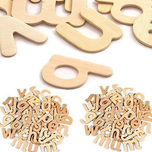 Comtechlogic cm-4095 60 Holz Kleinbuchstaben Buchstaben A bis Z Alphabet für Kinder Kreativ Projekte - Natürlich