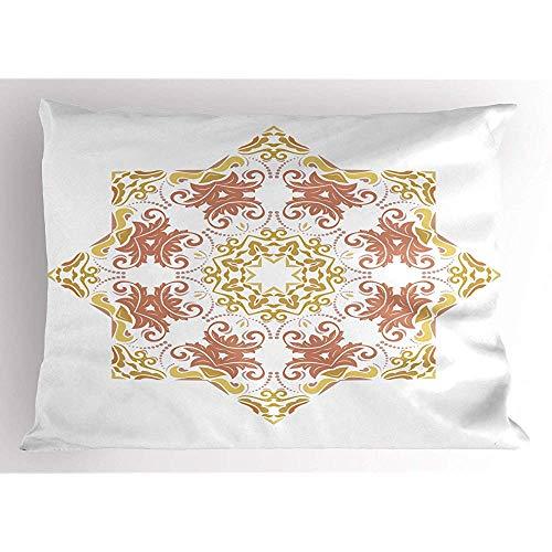 2 Stück Medaillon Pillow Sham,Floral Art Design von Spitzen Blütenblatt Blumen Muster auf einfachen Hintergrund,dekorative Standardgröße gedruckt Kissenbezug,36 x 20,weiß und dunkel Senf -