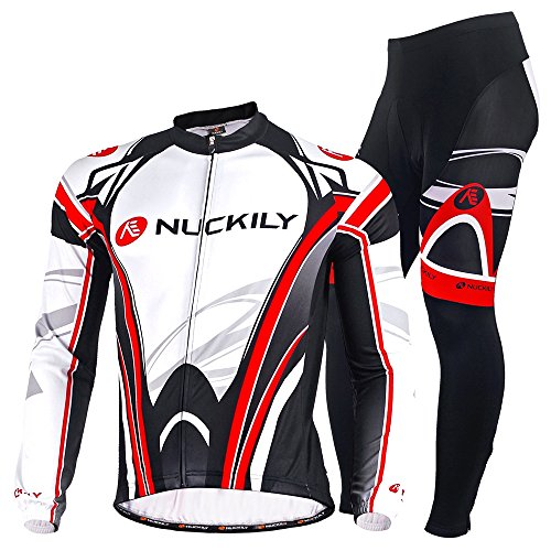 NUCKILY Men's Bicycle Suit Winter Thermal Cycling Jacket with Tights Set Medium -