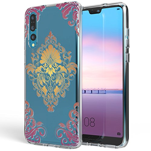 NALIA Handyhülle kompatibel mit Huawei P20 Pro, Slim Silikon Motiv Case Crystal Schutzhülle Dünn Durchsichtig, Etui Handy-Tasche Back-Cover Transparent Bumper, Designs:Royal Ornament - Pink Cover Schutzfolie