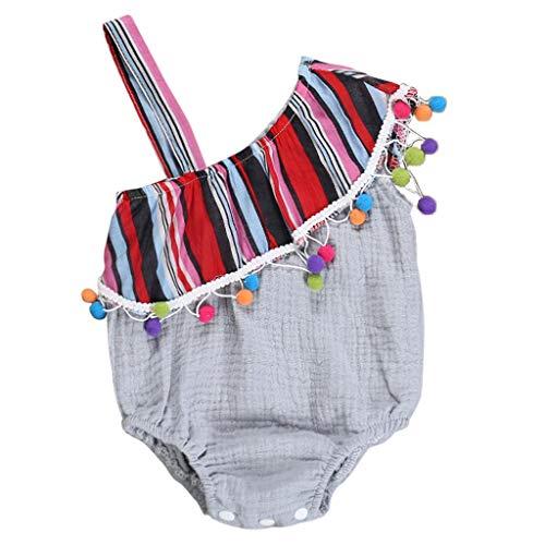 squarex Infant Baby Girl ärmellose Strampler Schulterfrei Overall Ball Quasten Body Sommer Niedlich Overall Freizeitspielanzug