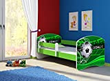 Clamaro 'Fantasia Grün' 140 x 70 Kinderbett Set inkl. Matratze und Lattenrost, mit verstellbarem Rausfallschutz und Kantenschutzleisten, Design: 14 Fußball Toor