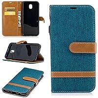 Samsung Galaxy J530 Hülle TXLING Denim PU Leder Flip Wallet Cover in Book Style Stand Case Card Slot Leder Tasche Case Karteneinschub und Magnetverschluß Kratzfestes für Samsung Galaxy J530 -Cyan