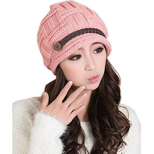 Partiss-Bonnet tricoté à boucle en cuir Rose - Rose