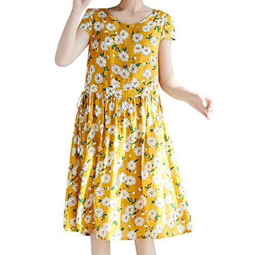 Zolimx Leinenkleid Damen Sommer Lang,Frauen Blumendruck Baumwolle Leinen Kurzen ÄRmeln Mitte Der Wade Lose BeiläUfige Sommerkleid -