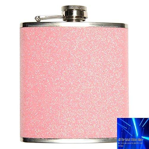 Edelstahl-Flachmann mit Glitzer und 207 ml Fassungsvermögen, Blau, Gold oder Pink rose