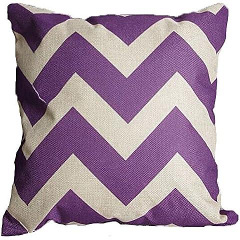 Vanki, motivo: zig zag, a strisce, Copriletto in cotone e lino, Federa per cuscino decorativo, 16,5 cm x 16 1,27 (.5