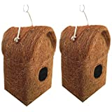 LIVEONCE 2 Pure Nest Bird House Purely Handmade with Easy Hanging Rings-Natural Color