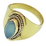 Chic-Net ottone anelli calcedonio mandorla corda ossidato privo di nichel Larghezza fogli bel.de golden Tribal drachensilber, Ottone, 20, cod. RB-40anu-60