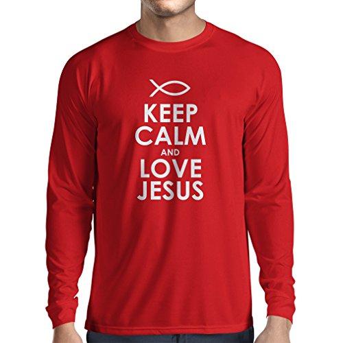 T-Shirt mit langen Ärmeln Christliche geschenke Liebe Jesus christliche geschenkideen Rot Weiß