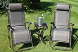 SET OF 2 Padded Garden Sun Lounger Relaxer Recliner Chairs in Tweed Weatherproof Textoline Complete With Side Table Worth £25.99