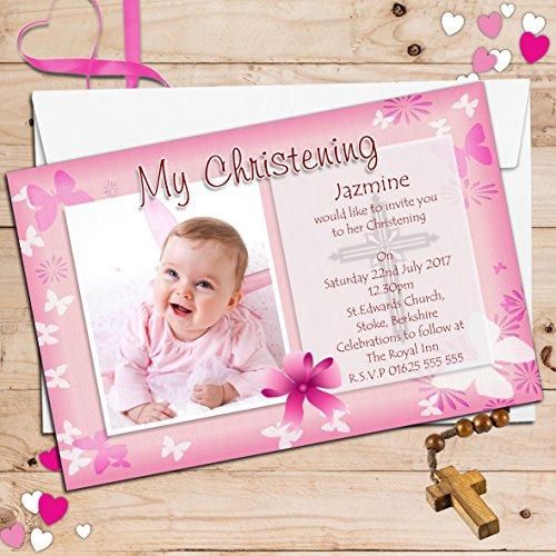 Invite Designs N54 Lot de 10 cartons d'invitation personnalisés pour baptême avec photo