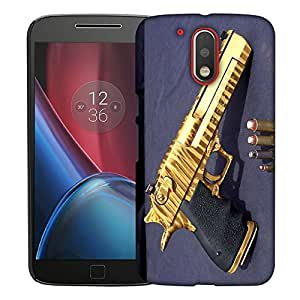 Snoogg Golden Gun Designer Protective Back Case Cover For MOTO G4 PLUS