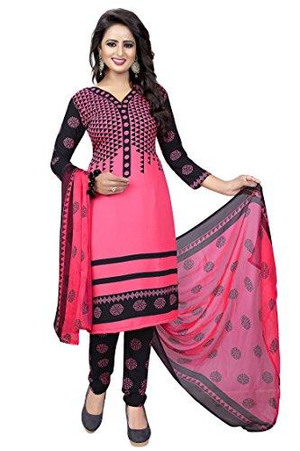 Rangrasiya Women\'s Pink Faux Crepe Printed Salwar Suit