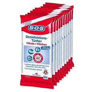 SOS Desinfektionstücher (10 x 10 Tücher)- zur Desinfektion von Händen und Flächen