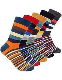 SZSMART Calcetines Estampados Hombre, Diseño Elegante Calcetines de Colores de Moda, Calcetines de Trekking y montaña, para Actividades al Aire Libre, Uso Diario en Otoño y Invierno