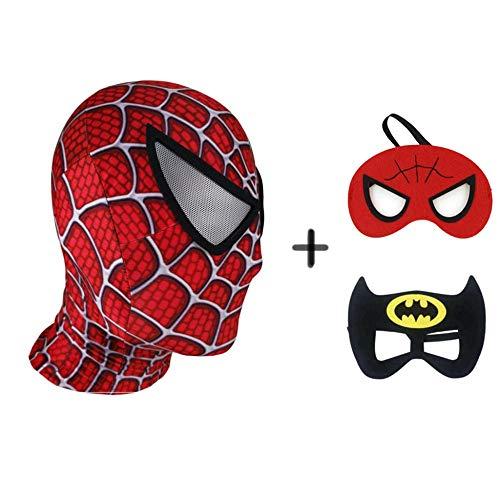 Kostüm Wahre Batman Der - BGHKFF Spiderman Masken Mottoparty Helm Halloween Maske Cosplay Hüte Kopfbedeckung Karneval Schminke Zubehör(3 Pcs),A